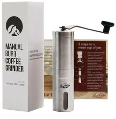 Amazon.com: JavaPresse Manual Coffee Grinder, Conical Burr Mill, Brushed Stainless Steel: Kitchen & Dining