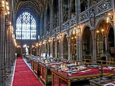 Beautiful Libraries and Bookstores.Reading room at John Rylands Library, Manchester, England, photo by digicanon Manchester Tour, University Of Manchester, Manchester England, Manchester Library, Beautiful Library, Dream Library, Salford, Home Libraries, Reading Room