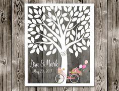 Wedding Guest book Alternative, Bicycle wedding guest book, Tree guestbook, Bike guestbook poster, Love tree guest book, Poster or CANVAS
