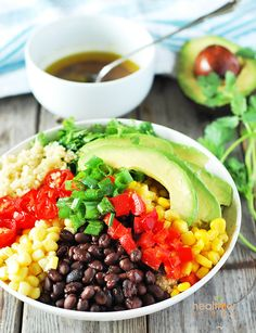 Southwestern quinoa salad bowl, filled with lots of veggies that are great for you. Quinoa is a complete protein, its low carb, contains high in fiber, magnesium.