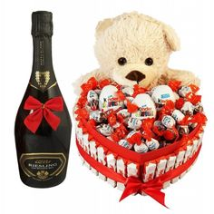 This beautiful gift fits all couples, children's toys made in a heart shaped box with a Italian Sparkling Wine and 20 cm fluffy teddy bear. This fantastic package contains lots of children's… Children's Toys, New Toys, Kids Toys, Fluffy Teddy Bear, Valentine Day Gifts, Valentines, Romantic Surprise, Wine Gift Boxes, Sparkling Wine
