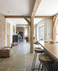 Replacing a large, ramshackled collection of old brick buildings has resulted in a truly beautiful new Border Oak home in a secluded location Open Plan Kitchen Living Room, Barn Kitchen, Bungalow Renovation, Barn Renovation, Barn Conversion Interiors, Border Oak, Brick Interior, Interior Design, Brick Cottage