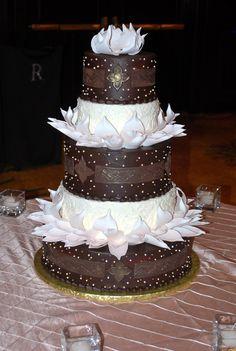 Wedding cake inspired by lotus flowers. www.callingallcakes.com