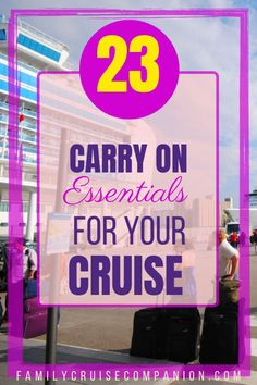 Start enjoying your cruise the minute you step on the ship! Find out what carry on essentials you need for your cruise bag. Have a smooth check-in! Packing For A Cruise, Cruise Tips, Cruise Travel, Packing Tips For Travel, Cruise Vacation, Travel With Kids, Family Travel, Last Minute Cruises, Alaskan Cruise