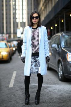 Streetstyle Fashion Week New York: manteau bleu ciel