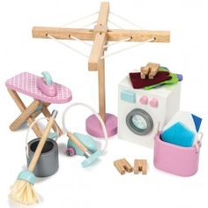 Lavadero para casitas de muñecas de madera