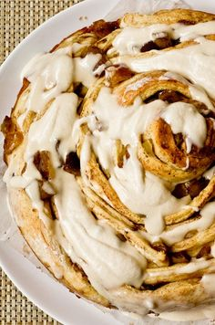 Giant Caramel Apple Cinnamon Bun with Cream Cheese Glaze and what to make for a festive holiday brunch!