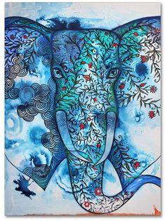 Elephant Art by Oxana Zaika Elephant Canvas Art, Elephant Love, Elephant Paintings, Artist Portfolio, Happy Art, Saatchi Art, Fine Art Prints, Creations, Artwork