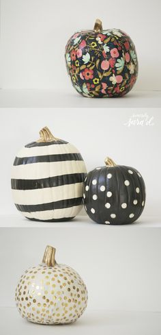 21 DIY no carve pumpkin ideas to decorate your home for Halloween. YOu're going to love these easy no carve pumpkins for seasonal holiday home decorating. These DIY Halloween home decor ideas and projects are so simple to r Halloween Chic, Holidays Halloween, Halloween Pumpkins, Halloween Crafts, Halloween Decorations, Halloween Window, Fall Crafts, Holiday Crafts, Holiday Fun