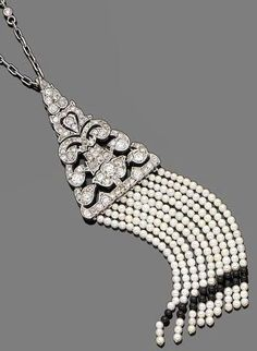 Art Deco diamond, onyx and seed pearl tassle pendant