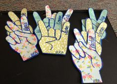 rock on & peace sign door decs