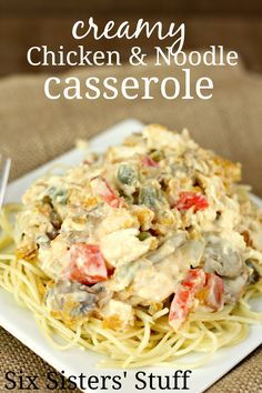Creamy Chicken and Noodle Casserole on SixSistersStuff.com - any goes with this casserole, so you can add your favorite vegetables (or whatever you have in your pantry!).