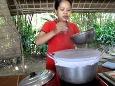 """How to make rice paper tutorial, aka """"Banh Uot."""" You'll need rice, water, linen/cotton fabric, a long and flexible tool, a wide mouthed pot, and a blender. They noted to soak the rice for at least 7 hours first, so start early. Looks fun, I can't wait to try it!"""