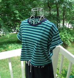 Upcycled Striped Summer Crop Top-Tshirt Sale Aqua by SunRaeStyle