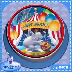 HAPPY BIRTHDAY 7.5 INCH ROUND CIRCUS BIG TOP CAKE TOPPER - CC6012L