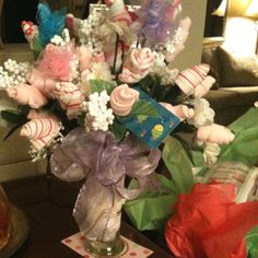 Baby bouquet  made of socks and wash cloths!! Charisse and I made!