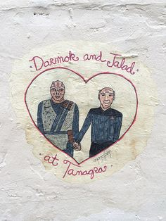 Reader Genevieve saw our awesome Geordi street art from the other day and alerted us to this cute Darmok and Jalad related thing she saw at ...