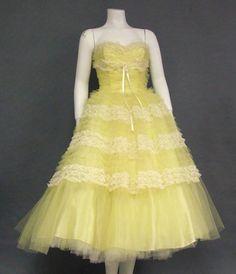 c5bb6a3fc25 Lovely Lemon Chiffon   Ivory Lace 1960 s Prom Dress. 50s Prom  DressesVintage DressesStrapless ...