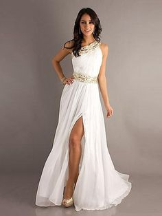 A-line One Shoulder Sleeveless Chiffon Prom Dresses/Evening Dresses With Beaded #FK704