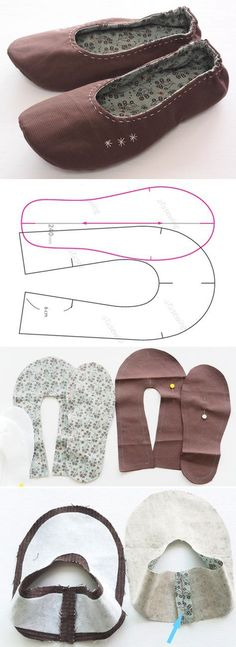 How to Make Fabric Slippers with Free Pattern http://www.free-tutorial.net/2016/12/diy-fabric-slippers-sewing-idea.html