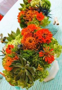 My orange and turquoise wedding day.  All about the details!