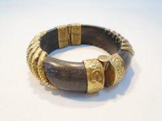 Vintage Black Horn Bangle Bracelet Pin Closure by KathiJanes