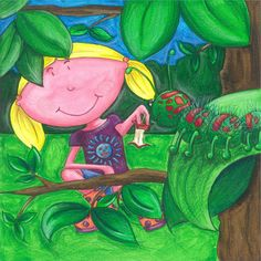Gertie in the Garden! Rhyming Words, My Books, Little Girls, Vibrant, Fish, Illustration, Garden, Color, Toddler Girls