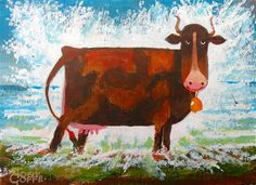 """Daily Paintworks - """"Cow Cooling"""" - Original Fine Art for Sale - © Toni Goffe"""