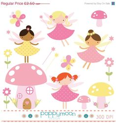 sale Pink yellow fairies mushrooms flowers and wands digital clip art set