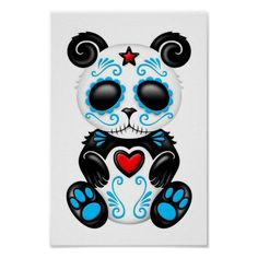 This unique design features an adorable sitting baby panda bear decorated with bright blue swirls and drops. A large heart is in the middle of the bear's chest with a small five point star appearing at the top of the forehead. These simple patterns are inspired by the Day of the Dead sugar skulls as are the flower pedals surrounding each dark eye. The stitched mouth also gives the panda a cute zombie appearance. This cute symmetrical design is a unique representation of this beautiful ...