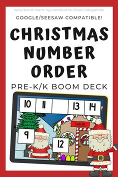 There are 35 cards in this deck. Each card has 5 numbers in order with 1 missing number. Kids will choose the missing number that will fill in the blank correctly. Use these task cards as a fun center to improve math skills in preschool and kindergarten. This digital resource is compatible with google classroom and seesaw and perfect for distance or homeschooling. #digital #boom #task cards #math #count #number #pre-k #preschool #kindergarten #christmas #santa #sequence #order #winter…