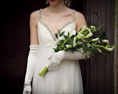 Over the arm bridal bouquet 1920's style.