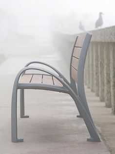 Camber Bench shown in 6 foot configuration with Aluminum Texture powdercoated frame and FSC® 100% Ipé hardwood slats