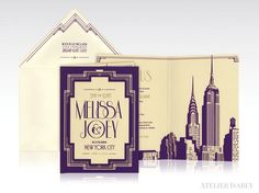 New York City Art Deco Save the Date design for a Gatsby or 1920s themed wedding
