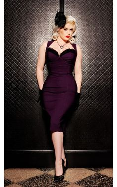 Masuimi Dress in Deep Plum from Pinup Couture - Dresses - Clothing | Pinup Girl Clothing