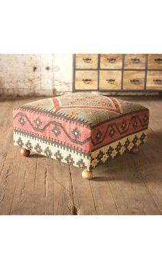 I love this vintage inspired ottoman!  Anya Ottoman | dotandbo.com