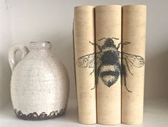 Bee Decorative Book Set with Custom Book Covers  by ArtfulLibrary