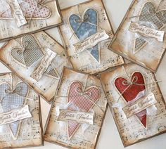 Sarjajoulukortit | Pastellipäivä Atc Cards, Paper Cards, Xmas Cards, Valentine Day Cards, Valentine Crafts, Christmas Gift Tags, Christmas Crafts, Sheet Music Crafts, Handmade Gift Tags