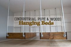 industrial-wood-and-pipe-floating-beds- My favorites so far!  Wondering if they could be arranged like bunk beds though.