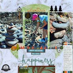 Outdoor Adventures Scrapbook Layout using Paper House Productions