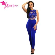 cacffb6884f3 Dear-Lover Jumpsuits Women Long Pants Casual Black Lace Leather Splice  Flare Open Back Party