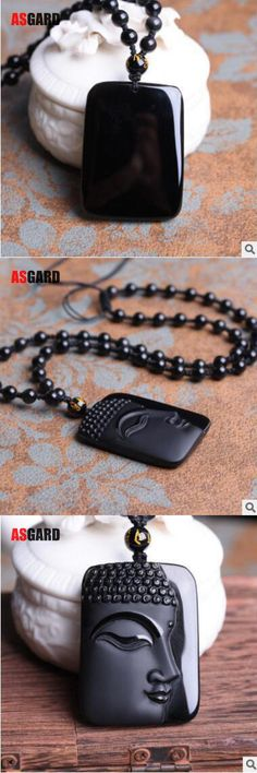 ASGARD High Quality Unique Natural Black Obsidian Carved Buddha Lucky Amulet Pendant Necklace For Men pendants Fine Jewelry