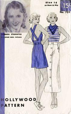 Hollywood 709 1930s playsuit & skirt sportswear vintage sewing pattern