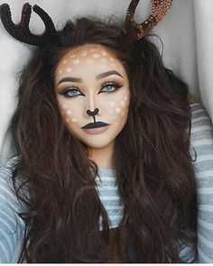 Inspiring halloween makeup ideas to makes you look creepy but cute 61 Bambi Makeup, Deer Makeup, Fox Makeup, Animal Makeup, Deer Costume Makeup, Makeup Geek, Deer Halloween Makeup, Halloween Makeup Looks, Halloween Costumes