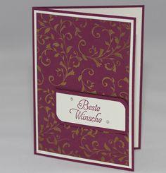 Glückwunschkarte - Vanille, Himbeerrot und Gold - Stampin Up Auf den ersten Blick, Galante Grüße -  ein Designerstück von Aelidan bei DaWanda