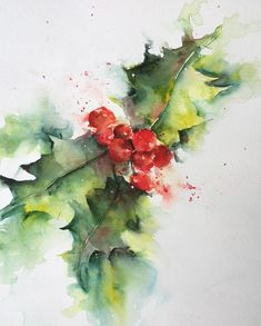 For the wall or on a pillow, watercolor pictures, watercolor flowers, watercolour painting Art Aquarelle, Watercolor Pictures, Watercolour Painting, Watercolor Flowers, Watercolors, Christmas Paintings, Christmas Art, Christmas Decorations, Holly Christmas