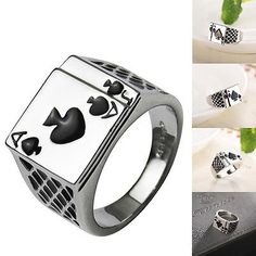 Fashion Mens 18K White Gold Plated Black Enamel Spades Poker Ring Finger Jewelry