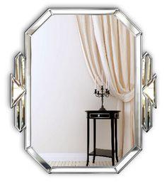 Tiffany Original Handcrafted Art Deco Wall Mirror With Silver Trim Art Deco Bathroom, Art Deco Mirror, Master Bathroom, Art Deco Interior Bedroom, Art Deco Spiegel, Body Mirror, Wall Mirror, Flur Design, Entryway Mirror
