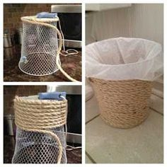 Get a dollar store trash an and hot glue top around the entire thing. Id probably use a trash can that was just plastic so you didnt need the plastic bag to cover the mesh inside. - Diy Home Decor Dollar Store Beach Theme Bathroom, Nautical Bathrooms, Beach Bathrooms, Beach Room, Small Bathroom, Beachy Bathroom Decor, Anchor Bathroom, Eco Bathroom, Mermaid Bathroom