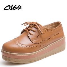 96a4b22c855 O16U Spring women casual platform shoes oxford Flats genuine leather lace  up Hollow out brogue female creepers Pink Black Brown-in Women s Flats from  Shoes ...